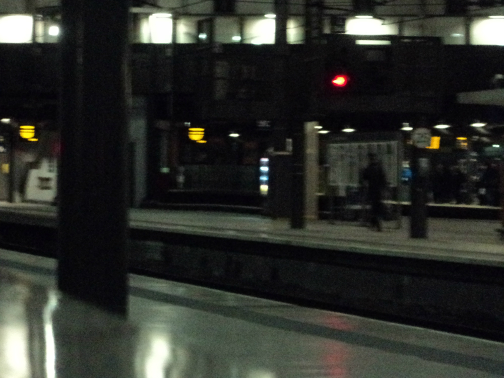 Darkened train platform